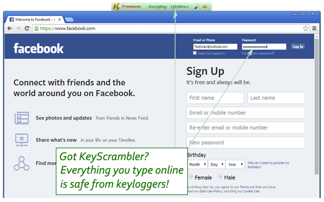 Screenshot: KeyScrambler encrypting keystrokes on Facebook